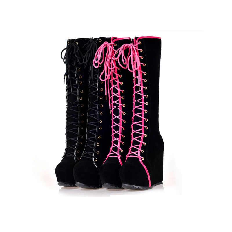 f6b3b55d1b8 Winter Boots Women High Heels Boots Lace Up Platform Wedges Round Toe Punk  Rock Goth Boots