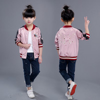 Girls Bomber Jackets Sport Embroidery Flower And Birds Coat For Girls Pink Kids Nylon Jacket Pilot