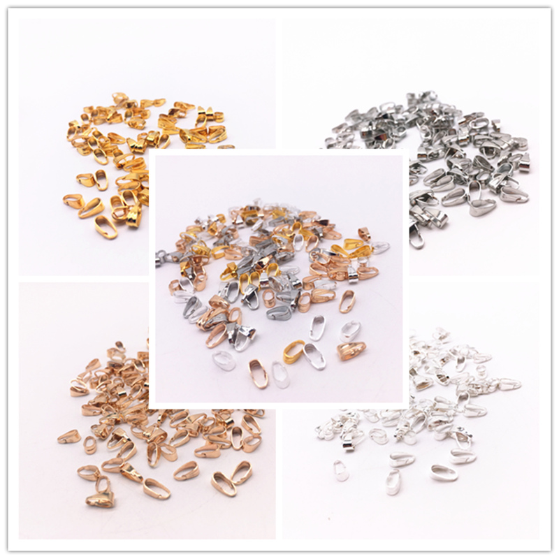 300pcs/lot 3x7mm Pendant Necklace Buckle Clasp Connectors, Pinch Clip Bail Pendant Hooks DIY Jewelry Findings Accessories