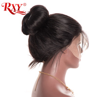 RXY Glueless Full Lace Human Hair Wigs For Black Women Hand Tied Brazilian Straight Wig With