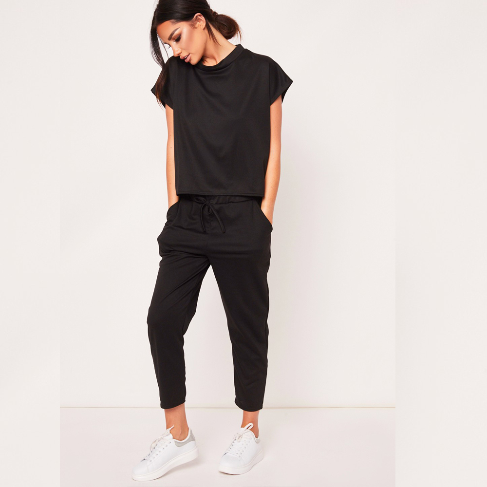 2020 O-neck Cotton New Women's Explosion Hot Sale Solid Color Short Sleeve Round Neck T-shirt Cropped Pants 2 Piece Casual Set