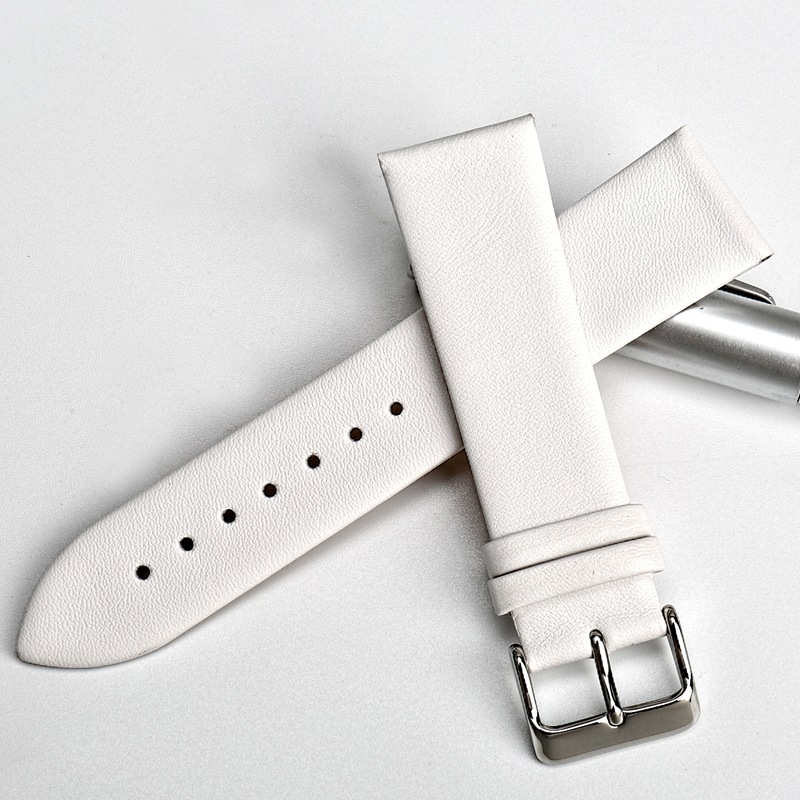 MAIKES New design watchband watch accessories white watch strap 12 24mm thin cow leather watch band women watch bracelet for DW in Watchbands from Watches