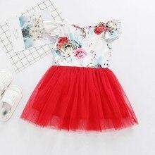 Newborn Baby Dress Summer Milk Silk Print Flower Red Mesh
