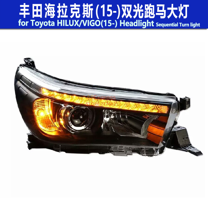 for Toyota Hilux for VIGO 2015- bi-xenon Projector Headlights with Sequential Indicator Turn light LED Strip light Black housing for chevrolet cruze tuning bi xenon projector lens head lights with led turn light 2015 year new arrival