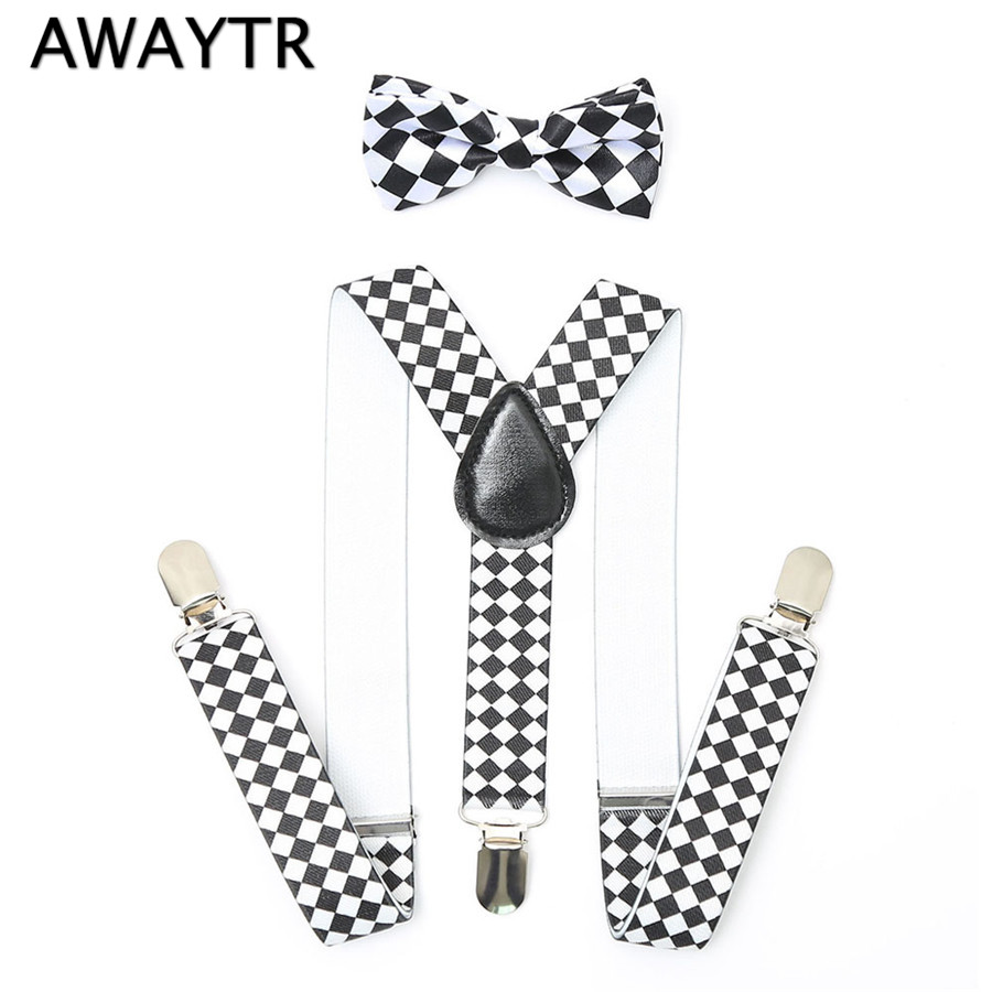 AWAYTR Children Suspenders Baby Girls Suspenders 2PCS/Set Kids Plaid Striped Suspenders Bow Braces Straps For Party