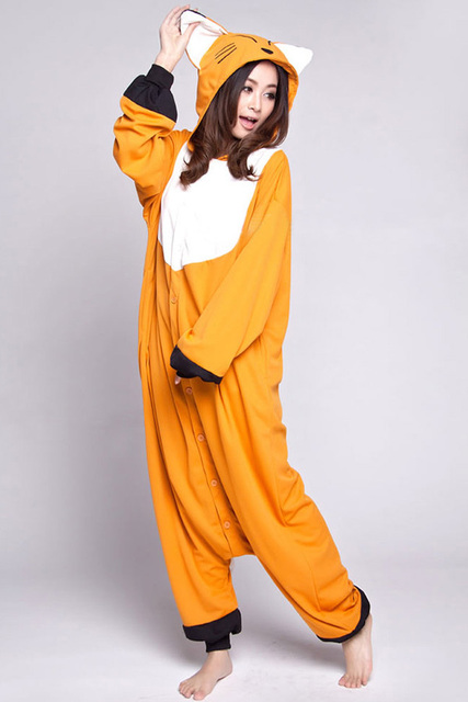 895f877361 Hot Orange Fox Cosplay Pajamas Onesies Women Men Cartoon Animal Cosplay  Costumes Pyajamas Adult Polar fleece Sleepwear Winter