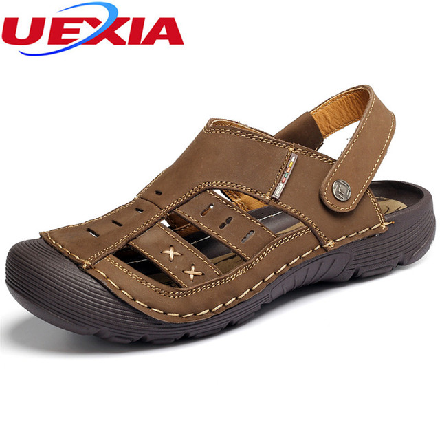 89e545e94 Outdoor Anti-collision Toe Leather Double Sandals Men Shoes Summer Casual  Breathable Classic Sport Beach Sandals Close Footwear