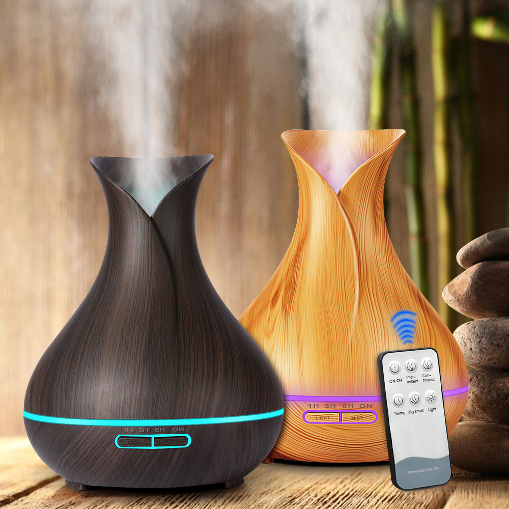 New Ultrasonic Air Humidifier 550ml Aroma Essential Oil Diffuser with Wood Grain 7 Color Changing LED Lights for Office Home