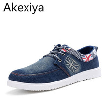 Akexiya 2017 Fashion Men Casual Shoes Denim Canvas Shoes British Flag Lace Up Breathable Men Shoes Casual Zapatos Hombre A2877