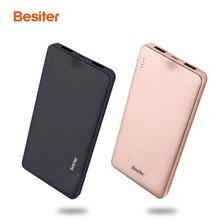 Besiter 10000 мАч Мощность банк бритвы Портативный большой Ёмкость Мощность Bank внешняя Батарея Зарядное устройство Dual USB повербанк для мобильного телефона