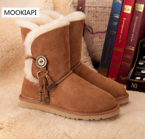 2019 Brand Women s Sheepskin Snow Boots 100 Wool Mid Style Snow Boots for ladies Free