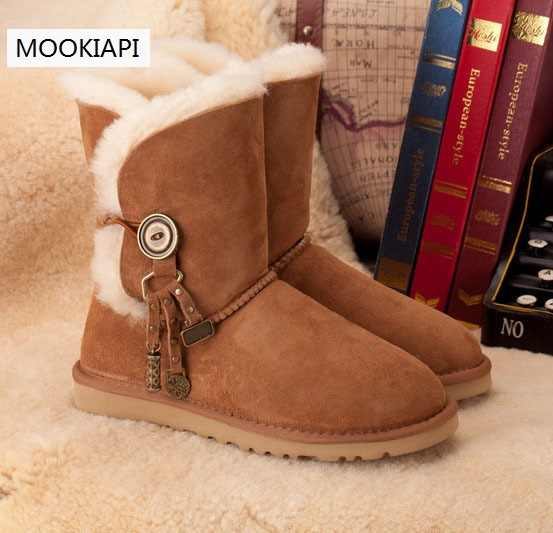 Wool Mid Style Snow Boots for ladies