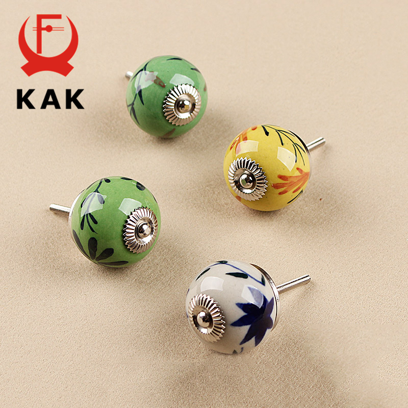 KAK Hand-painted Ceramic Drawer Knobs Plant Rural China Style Cabinet Cupboard Handles Modern Fashion Furniture Handle Hardware