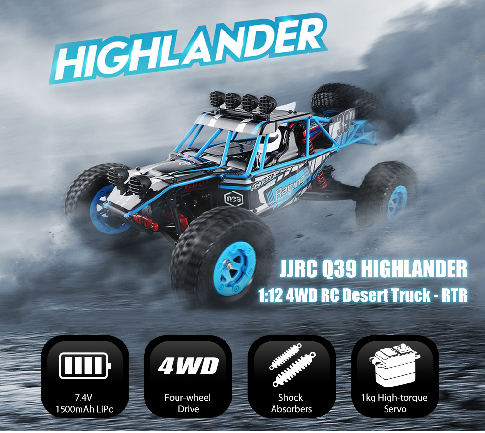 JJRC Q39 RC Voiture 1:12 Électrique 2.4G 4WD 40 KM/H Highlander Court-Cours Télécommande Voitures Jouet Off-route Véhicule Monster Truck