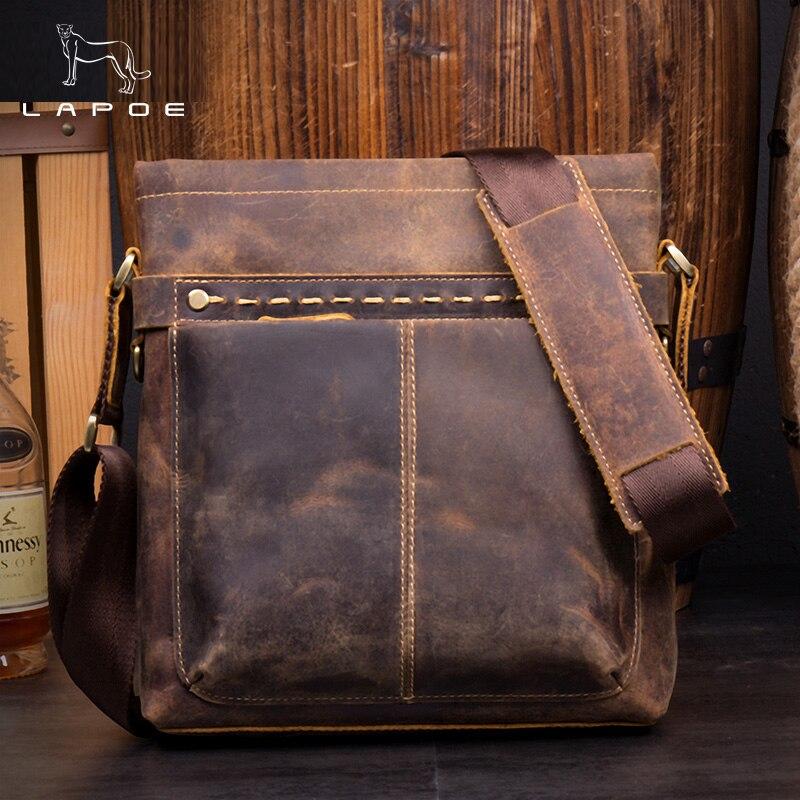 LAPOE Mens Vintage genuine leather business bag real leather shoulder bag Brown cow leather tote bag shoulder strap iPad pocke