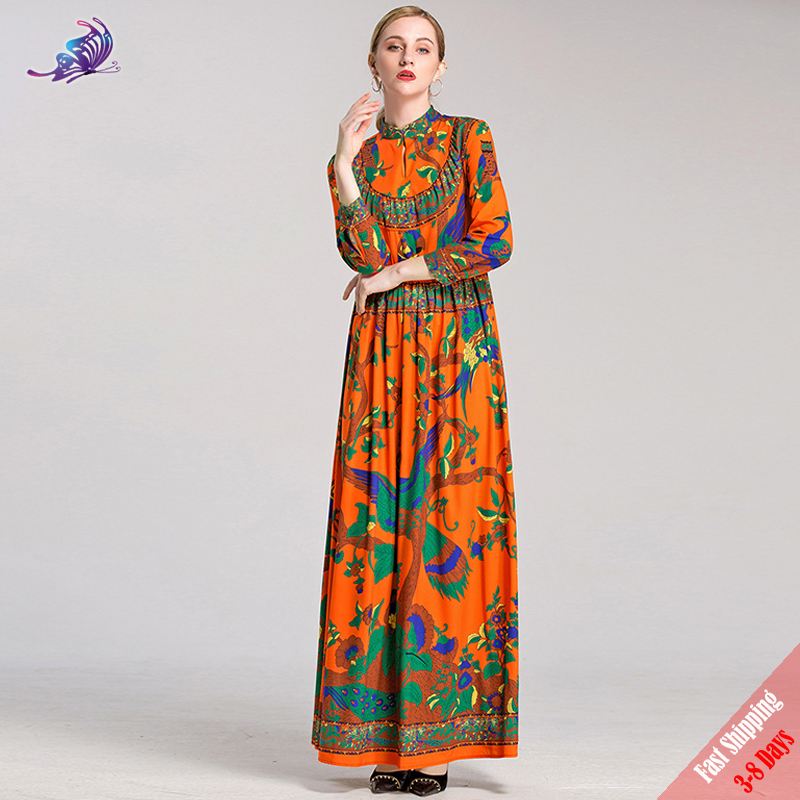 6fe9875702a Fashion Runway Designer Maxi Dresses 2018 New Womens Long Sleeve Floral  Printed Bohe Loose Long Dress High Quality ...