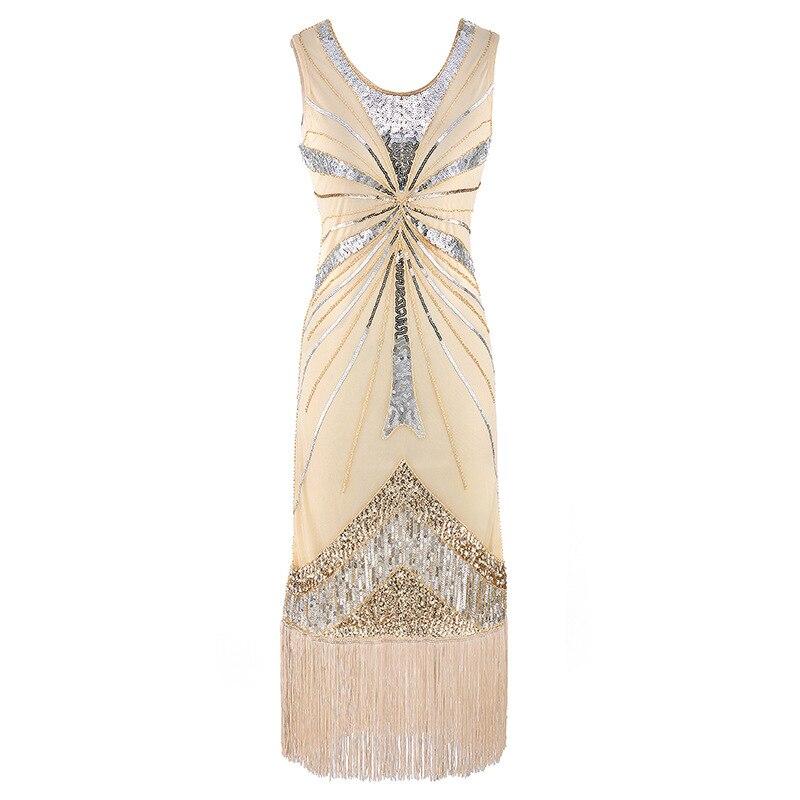 Women 1920s Beading Sequined Embellished Fringed Great Gatsby Flapper Dress Sleeveless Retro Midi Party Dress Ukraine Vestido