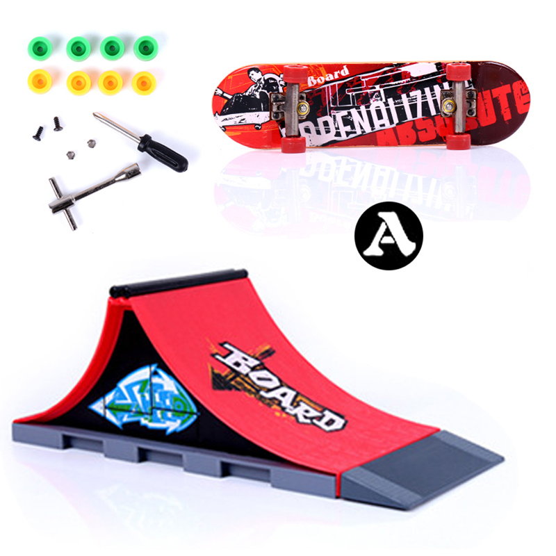 Fun Red Skate Park Ramp Track Finger Skate Board Indoor Table Game Parts for Desk Fingerboard Finger Skateboard for Kids Adults