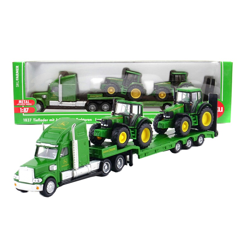 Siku 1: 87 escala caminhão brinquedo trator modelo plataforma caminhão novo holland tratores liga reboque crianças brinquedos carros transportador fazenda