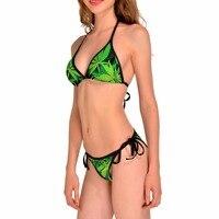 NEW 0098 Sexy Girl Summer Big Maple Leaf Weed 3D Prints Thongs Bikini Set Swimsuit Swimwear Women Bathing Suit