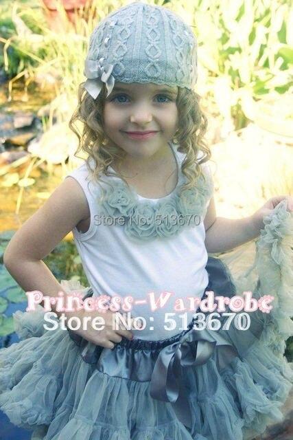 Free Shipping Premium Pettiskirt Skirt Petti Party Dance Tutu Pettiskirt Girl 1-8Y- Silver Grey