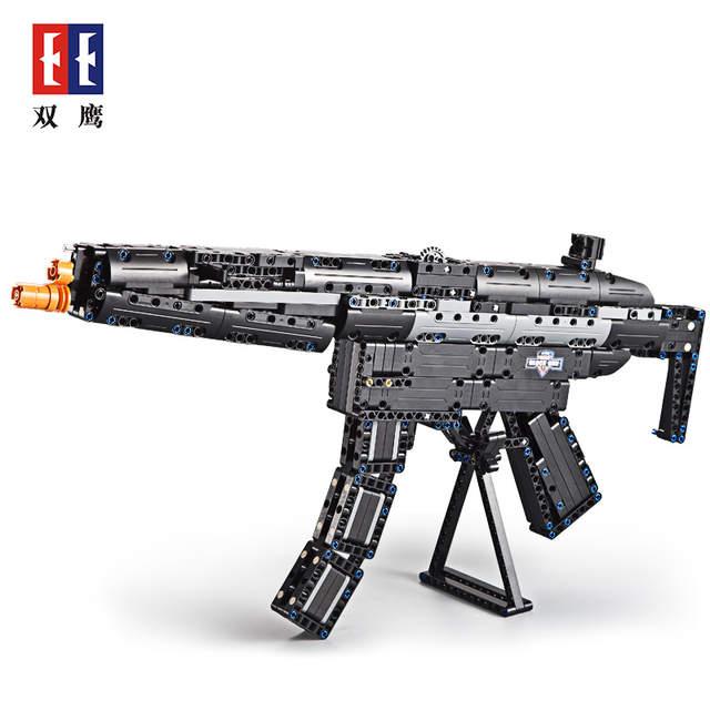 US $31 0 50% OFF|DIY Block Gun Toys SWAT Police Submachine Gun Weapons  Model Assembled Bricks Blocks Launch Rubber band-in Blocks from Toys &  Hobbies
