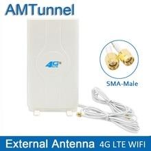 الجيل الثالث 3G 4G LTE هوائي LTE mimo هوائي 2 * SMA ذكر TS9 CRC9 موصل مع 2 متر 700 ~ 2600Mhz 88dBi لهواوي B315 E3372 E8372 راوتر
