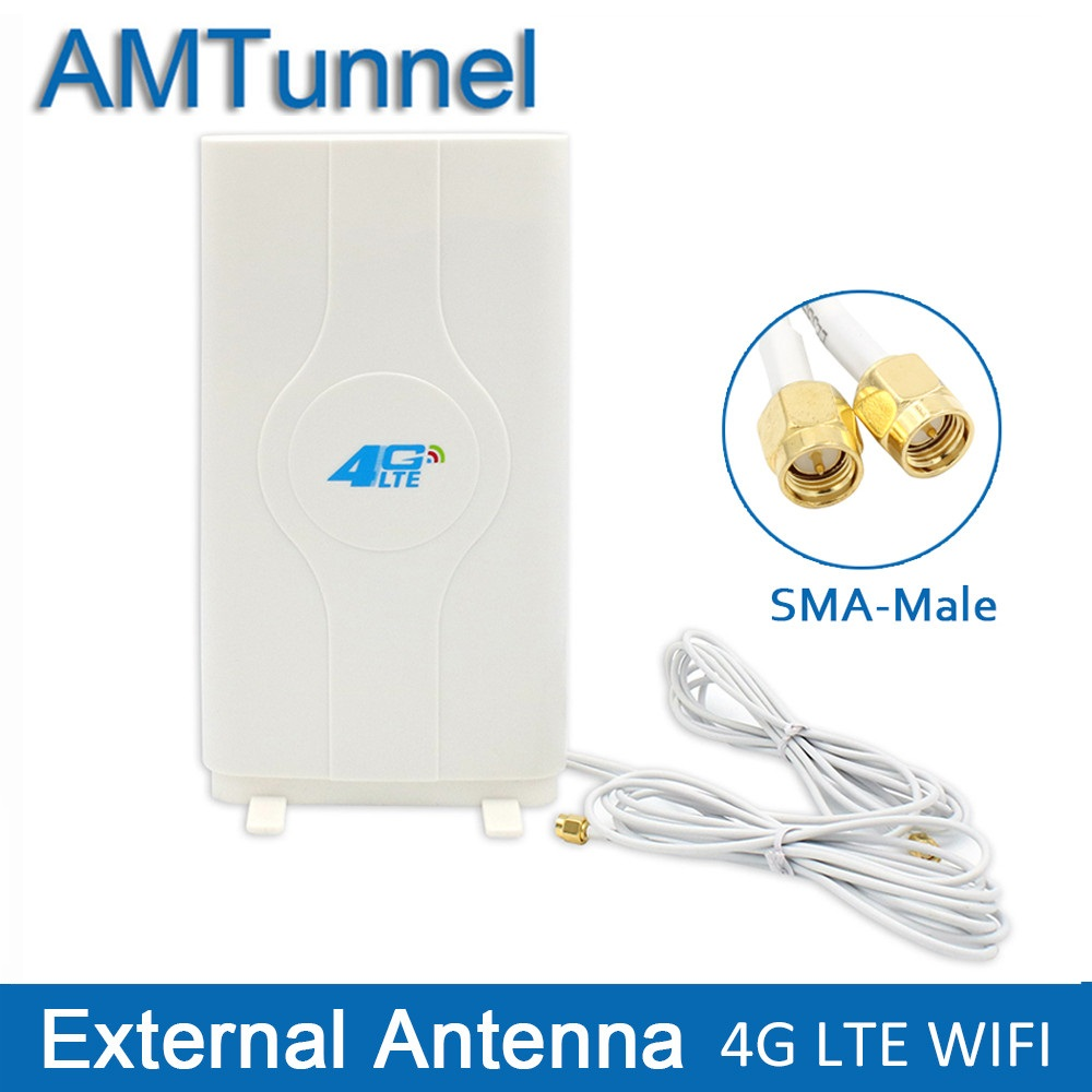 3G 4G LTE antenna Mobile antenna 2-SMA-male/TS9/CRC9 Connector Booster mimo Panel Antenna with 2 meters Cable 700~2600Mhz 88dBi  indoor 3g 14dbi crc9 antenna