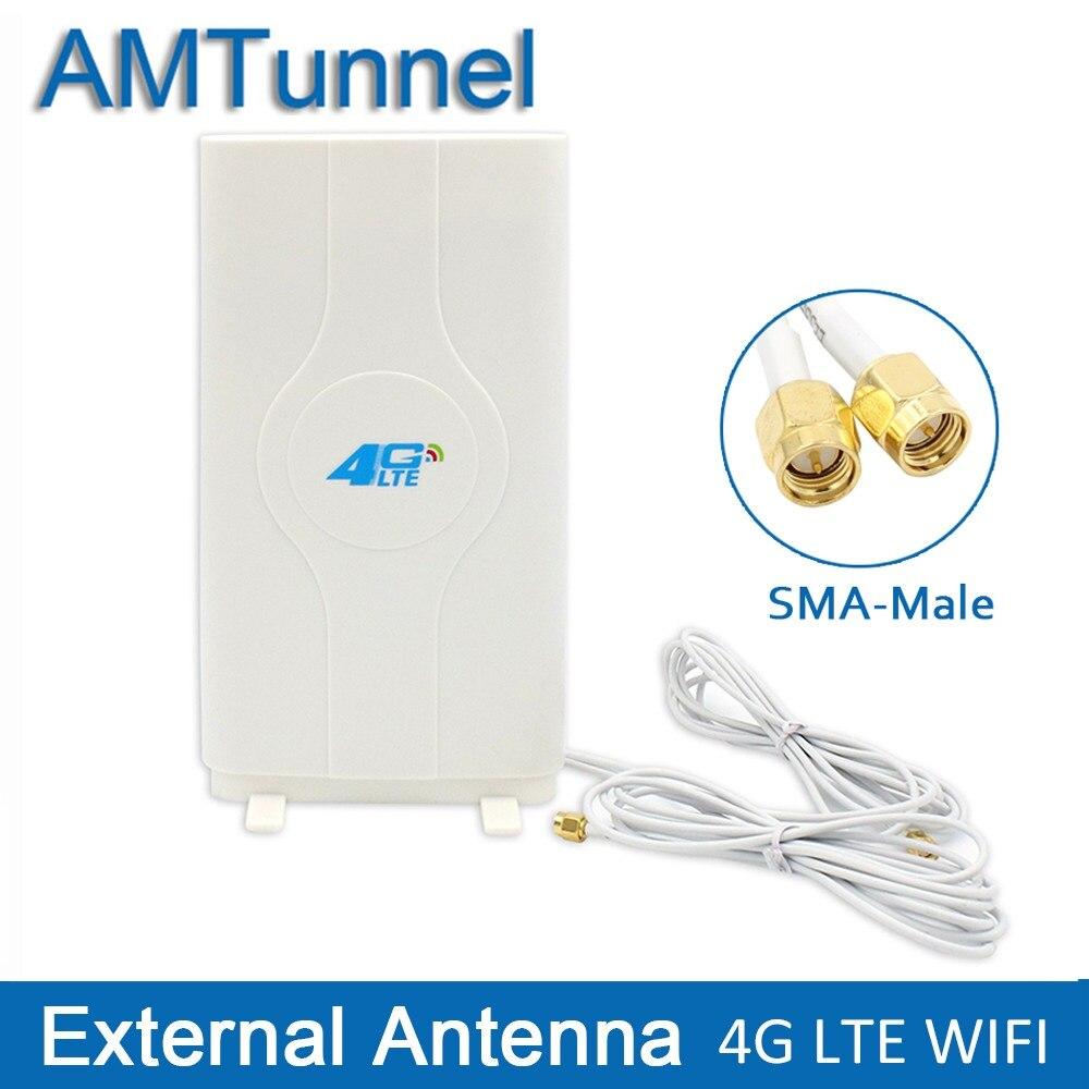 3g 4G LTE антенны мобильная антенна бустер MIMO панельная антенна 2 * sma-штекер/TS9/CRC9 разъем с 2 м кабель 700 ~ 2600 мГц 88dBi