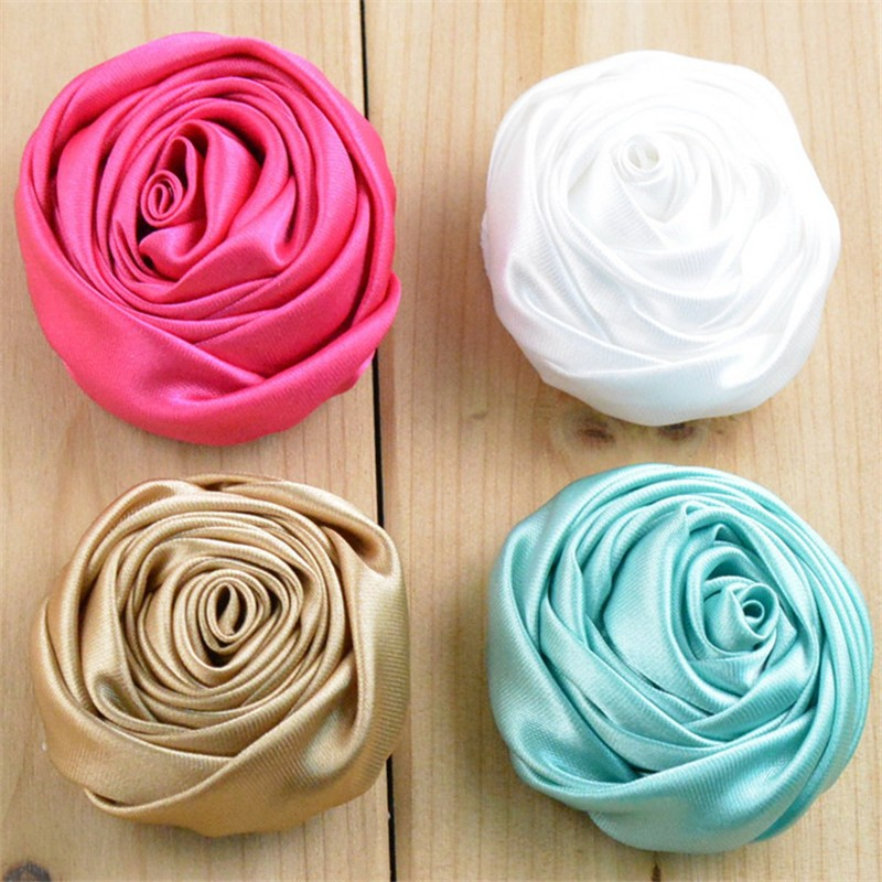 120pcs/lot 21 Color U Pick 5cm Handmade Rolled Satin Rose Fabric Flowers Flat Back DIY For Garment Hair Accessories FH44 30pcs lot 28 color u pick handmade 3 chiffon rolled rosette boutique hair flowers diy girls hair accessories fh28