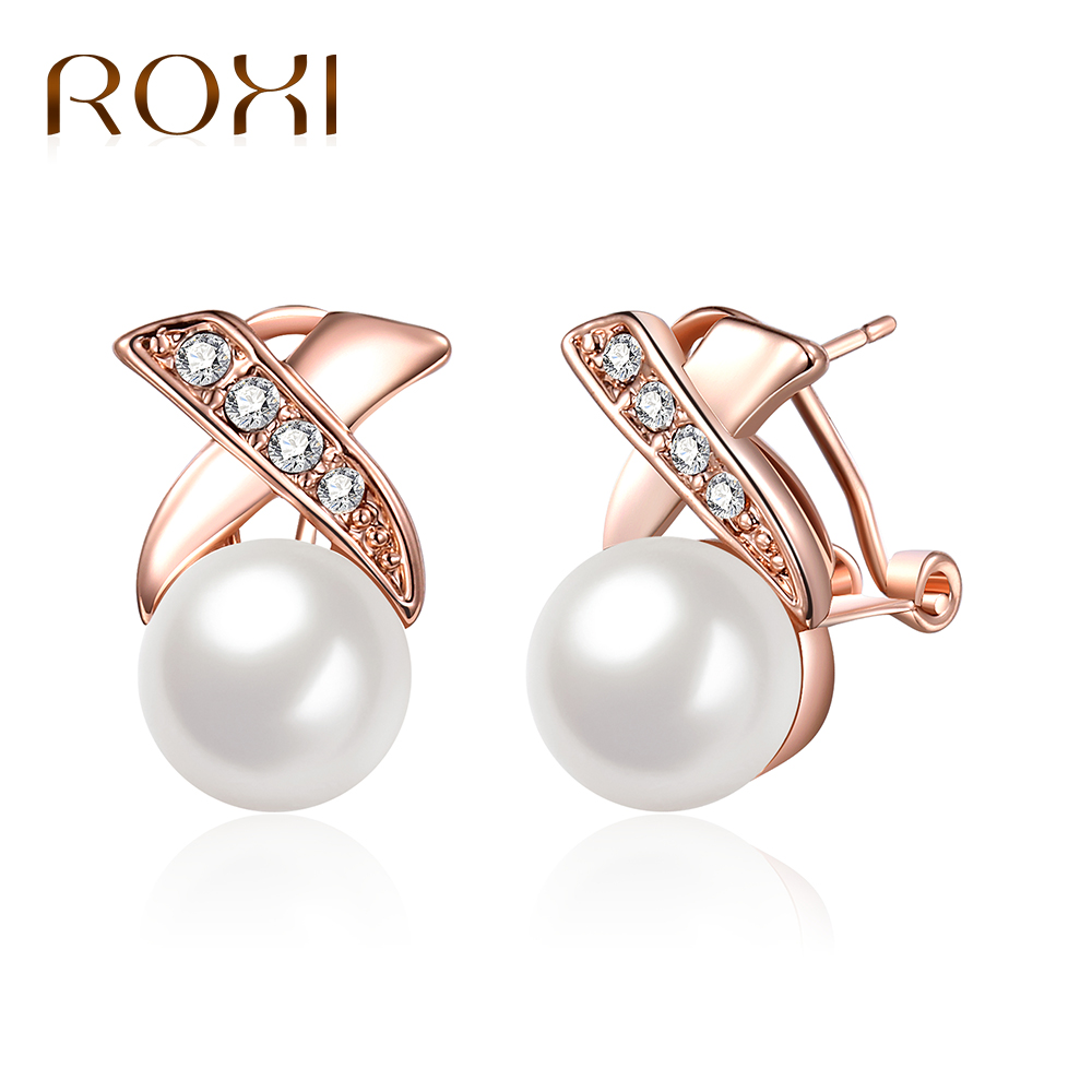 18c54a65a ROXI Hot Fashion Rose Gold Crystal Stud Earrings for Women Brincos Perle  Pendientes Bou Imitation Pearls
