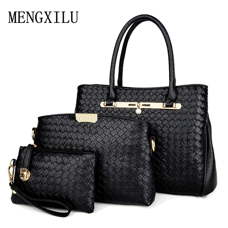 3pcs High Quality Knitting Handbag Women Large Tote Bag Small Coin Purse Pu Leather Shoulder Messenger Bags Female Composite Bag susen 2 pcs pu tote bag women alligator satchel handbag lady high quality shoulder bags crossbody messenger clutch purse 5133