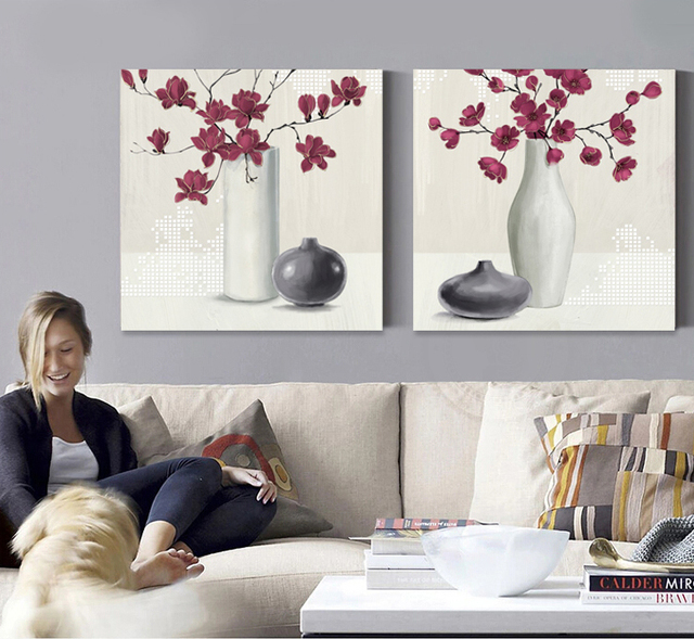 Still Life White Flower Vase Painting Canvas Wall Art Home Decor Living Room Office Picture