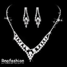 RNAFASHION Women Sparkling V Shaped Rhinestone Crystal Pearl Necklace Earring Charm Wedding Bridal Jewelry Set Gift