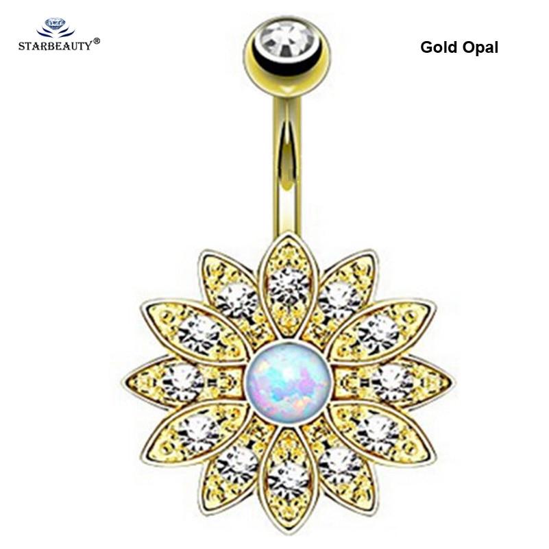 1pc puro loto opale anelli piercing ombelico piercing ombelico - Bigiotteria - Fotografia 2