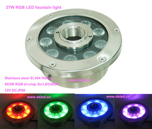 Free shipping by DHL!! IP68,27W RGB LED fountain light,RGB underwater LED light,DS-10-36-27W-RGB,RGB 3in1,12V DC,stainless steel free shipping by dhl good quality 12w underwater led light led pool light 12v dc ds 10 55 12w stainless steel 2 year warranty