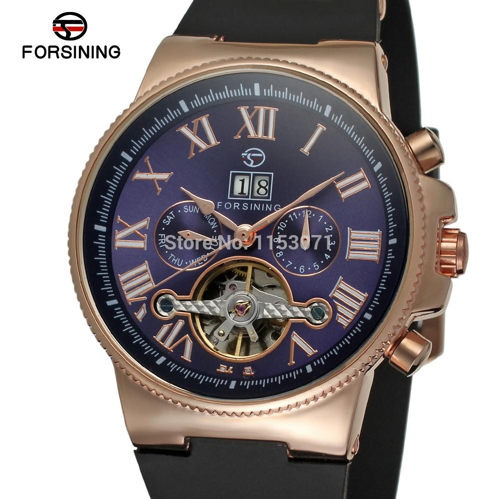 Friendly Forsining Mens Watch Fasion Automatic Promotion Dress Alloy Plastic Band Gift Box Case Wristwatch Color Deep Blue Fsg2373m3r3 Rich In Poetic And Pictorial Splendor Mechanical Watches