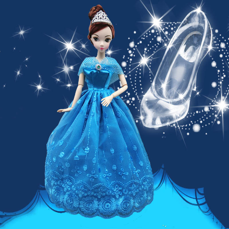 Princess Wedding Dress Fairy Tale Gown Copy Cinderella Dancing Ball Doll Clothes Outfit For Barbie Doll