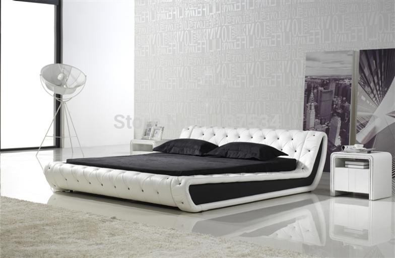 comfortable bed PU+PVC modern soft bed leather soft bed large size bed-C326 bed
