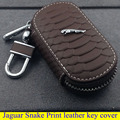 Jaguar parts high quality leather key cover for LJaguar XE XF Jaguar XJ S-TYPE Snake Print style key ring car styling