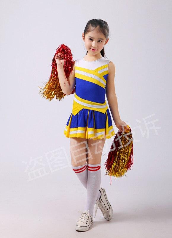 בגדי מעודדות לילדים ילדות מעודדות תלבושות סטודנטים תלבושות חצאית קפלים כחולים עם גרב