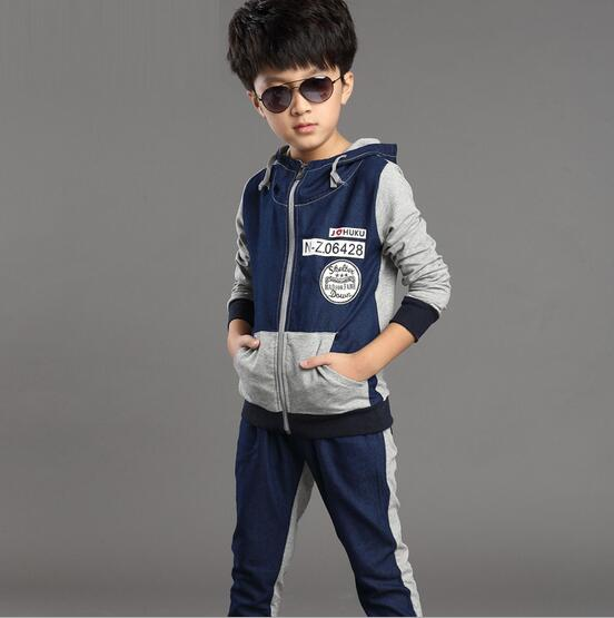 ФОТО Fashion Long Sleeve Kids Tracksuit Hooded Ensemble Garcon Denim Coat Stitching Boys Clothing Jeans Two-piece Sets Sports Suit