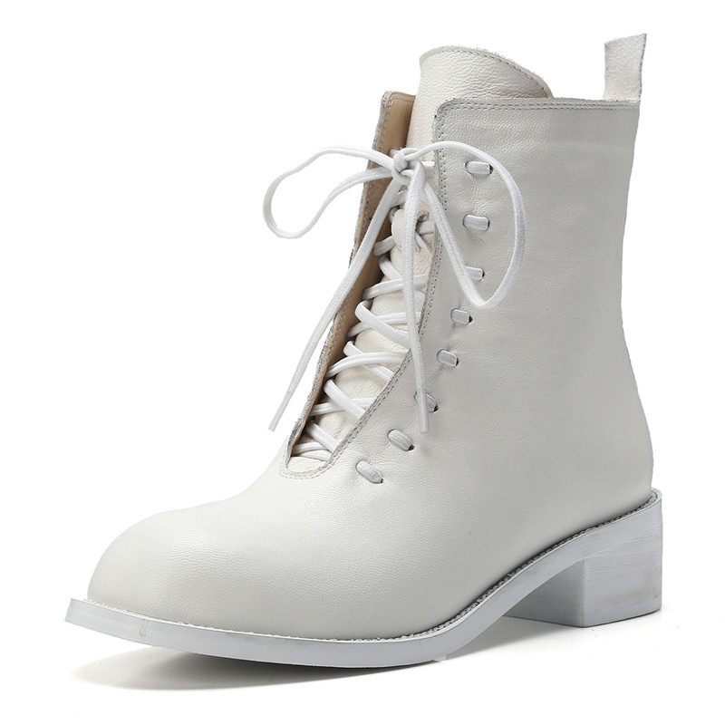Lacets Talon Bottes Cr1064 34 Chaussures Arrondi white De Mode Femme Martin Taille Enmayer Bout Talons À Black 40 Bottines Causal Med Épais ZXwOiuPkT