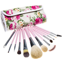 Professional 12 Pcs Makeup Brushes Set Women Fashion Soft Goat Hair Lip Eyebrow Shadow Make Up