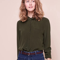 French women shirts 100% real silk olive Single pocket Blouses pretty shirt with nice buttons in sequins