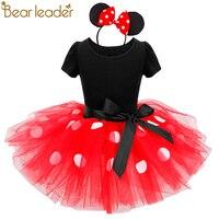 الدب الزعيم الفتيات الفساتين 2018 جديد أزياء الأميرة clohting نقطة خياطة الكرة بثوب فساتين ميني تصميم مماثلة توتو ل 2-7y