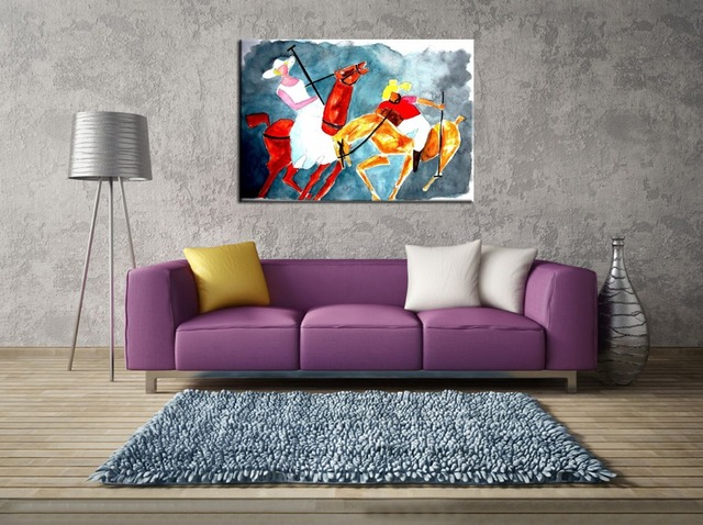 Handpainting Wall Art Unique Gift Abstract Islamic Portrait Paint Woman and Sardar Playing Polo religious Islam Art Oil Painting