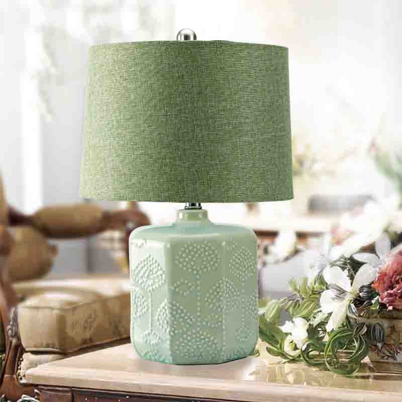 Vintage table lamp e27 bulb green ceramic table bedroom lamp vintage table lamp e27 bulb green ceramic table bedroom lamp nightstand desk light touch switch abajur in table lamps from lights lighting on mozeypictures Choice Image