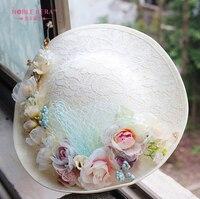 European Retro Lace Flowers Hat Headdress Hat Bride Wedding Dress Accessories Hair Styling Studio