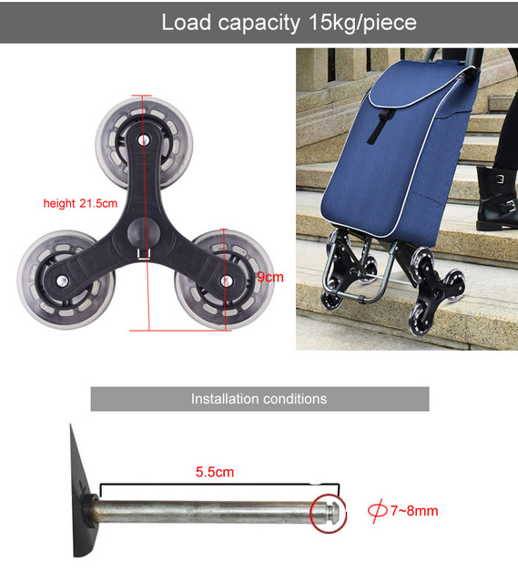 Roda de quadro triangular/rodas de escalada, casters com rolamento, para carrinhos de bebê, transporte de bebê, mobiliário caster